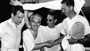Fred Perry, Charlie Chaplin, Groucho Marx e Ellsworth Vines